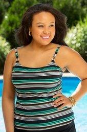 Women's Plus Size Swimwear - Captiva Separates Horizon Tankini Top w/ Underwire