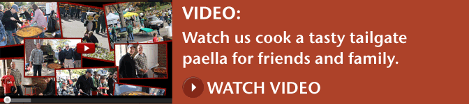 Video: Watch us cook a tasty tailgate paella for friends and family. Watch Video