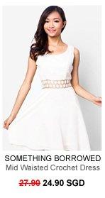 SOMETHING BORROWED Mid Waisted Crochet Dress