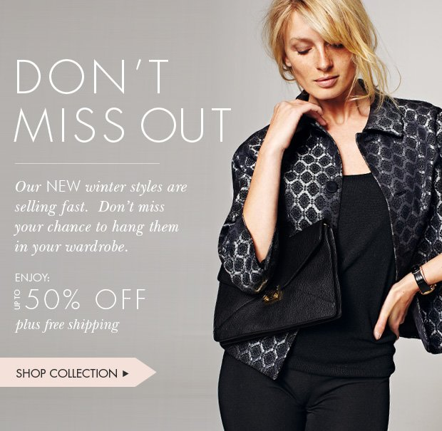 Download Images:  Shop New Winter Styles with Up to 50% off plus free shipping and free returns