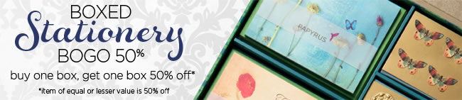 Boxed Stationery Savings Buy One Box, Get One Box 50% Off* Cannot be combined with other offers.