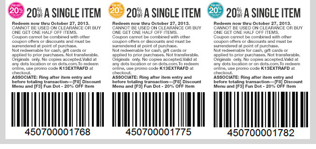 3 Bonus fun dot COUPONS! Enjoy 20% OFF 3 regular-priced items in-stores and online! SHOP NOW!