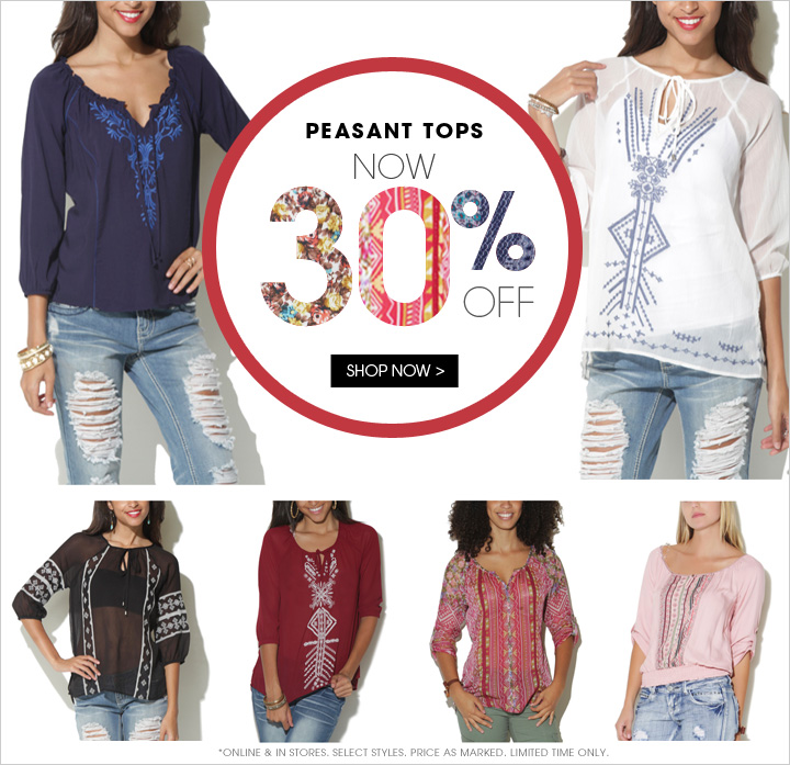 Peasant Tops Now 30% OFF!