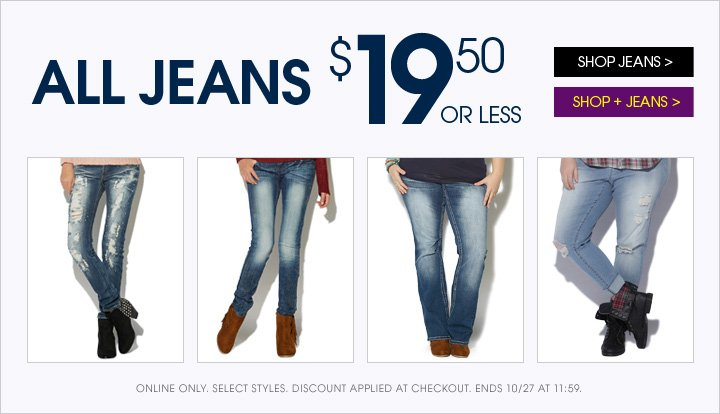All Jeans $19.50 or Less!