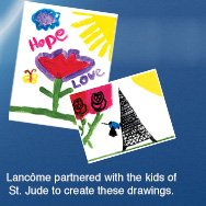 Lancome partnered with the kids of St. Jude to create these drawings.
