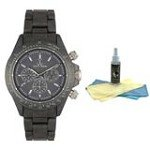 Toy FLP08BK Women's Black Plasteramic Chronograph Watch with 30ml Ultimate Watch Cleaning Kit