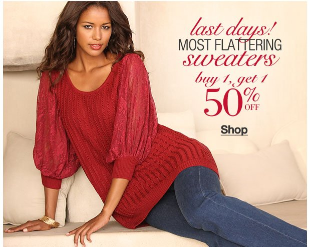 Last days of the sweater BOGO! Buy 1, Get 1 50% off!