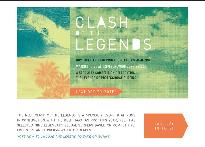 Vote Now! Last day to vote for Clash of the Legends.