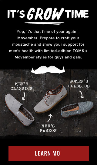 It's grow time - TOMS X Movember is back - Learn Mo