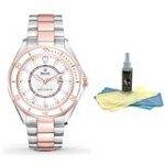 Bulova 98M113 Women's TT Rose Gold Steel Date Watch with 30ml Watch Cleaning Kit