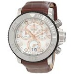 Invicta 11165 Men's Sea Hunter Silver Dial Black Accent Bezel Leather Strap Chronograph Dive Watch