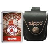 Zippo AD225 Classic MLB Boston Red Sox Street Chrome Windproof Lighter with Zippo Black Leather Loop Pouch
