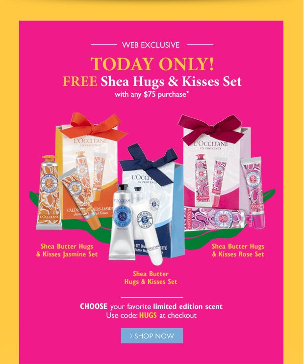 Free Shea Hugs & Kisses Set with any $75 purchase