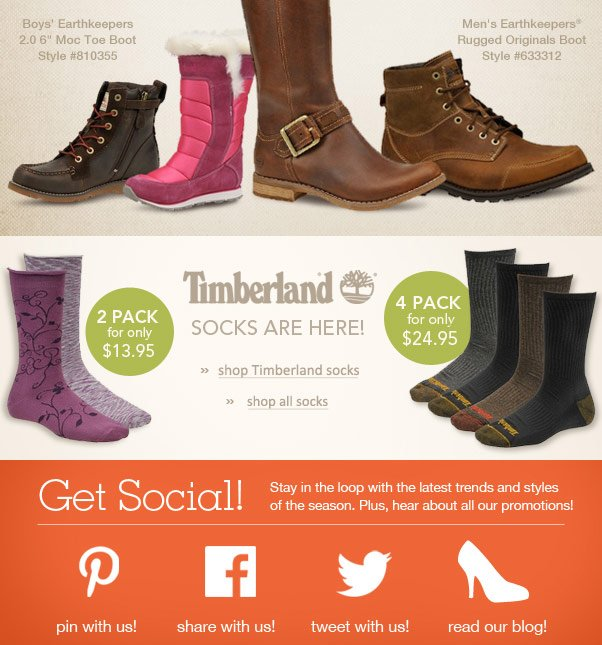 New Styles From Timberland + Free Shipping!