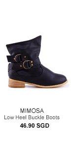 MIMOSA Chunky Low Heel Buckle Boots