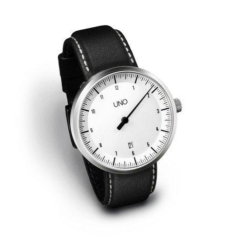 Uno Auto Leather // White Dial