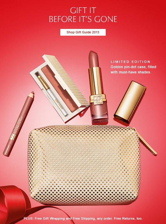 GIFT IT  BEFORE IT'S GONE.   Shop Gift Guide 2013 »  Limited Edition:  Golden pin-dot case, filled with must-have shades.    PLUS: Free Gift Wrapping and  Free Shipping, any order.  Free Returns, too.