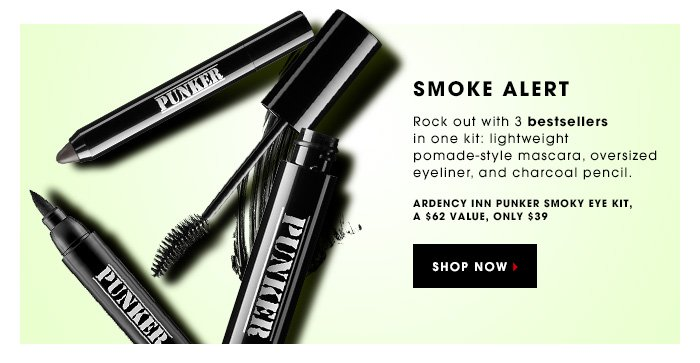 SMOKE ALERT. Rock out with 3 bestsellers in one kit: lightweight pomade-style mascara, oversized eyeliner, and charcoal pencil. Ardency Inn Punker Smoky Eye Kit, a $62 value, only $39. SHOP NOW