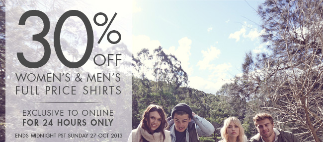 30% off Women's & Men's Full Price Shirts