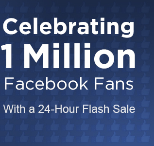 Celebrating 1 million facebook fans with a 24-hour flash sale