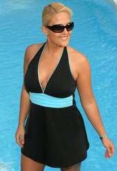 Women's Plus Size Swimwear - Always For Me In Control - Hilo Halter Swim dress