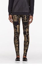 KTZ Black & Gold Tarot Print Leggings for women
