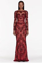 ZUHAIR MURAD Burgundy tulle Embellished Pillar gown for women