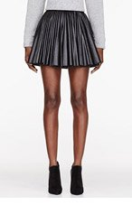 KTZ Black Leather Multi-Panelled Pleated Skirt for women
