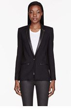 HELMUT LANG Black leather-trimmed Noa Fractal Blazer for women