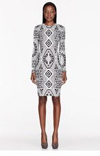 KTZ Black & white Back Of The Card Print Bodycon Dress for women