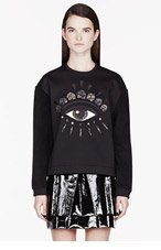 KENZO Black fleece & neoprene Eye embroidered sweatshirt for women