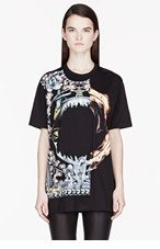GIVENCHY Black Orgy vs. Flames Print T-Shirt for women