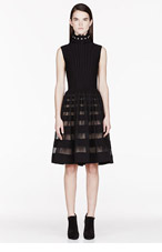 ALEXANDER MCQUEEN Black Pearl-trimmed Degrade Stripe Full dress for women