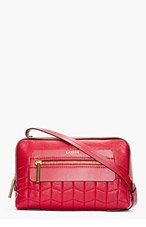 LANVIN Red Quilted Leather Padam Shoulder Bag for women