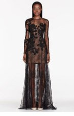 ZUHAIR MURAD Black metallic Embellished lace Pillar Gown for women