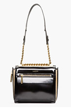 LANVIN Black Patent Leather & Lizardskin Chain-Strap Padam Shoulder Bag for women
