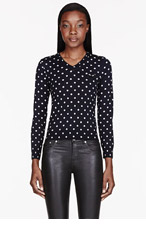 COMME DES GARÇONS PLAY Navy Polka Dot V-Neck Sweater for women