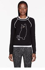 MARC BY MARC JACOBS Black Rue Cat Intarsia Sweatshirt for women