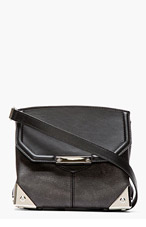 ALEXANDER WANG Black Leather & Silver Marion Prisma Shoulder Bag for women