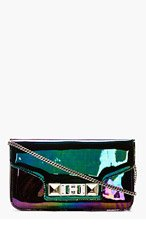PROENZA SCHOULER Black Iridescent Oil Slick Leather PS11 Chain Clutch for women