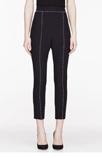 ALEXANDER MCQUEEN Black Crepe & pearl Leaf Trousers for women