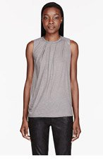 HELMUT LANG Light Grey leather & Soft Wool Draping Top for women