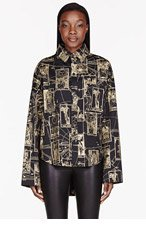KTZ Black & gold Tarot Print Cropped Blouse for women