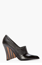 STELLA MCCARTNEY Black Pebbled & Matte Wood-Heel Pumps for women