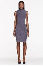 T BY ALEXANDER WANG Purple Mohair Jersey Turtleneck Slit-Back Dress for women