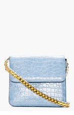 STELLA MCCARTNEY Pale Blue Croc-Embossed Grace Shoulder Bag for women