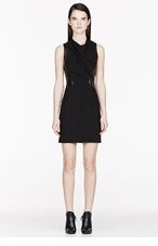 HELMUT LANG Black leather & crepe Sphere Dress for women