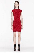 ALEXANDER MCQUEEN Ruby Red Knit Jacquard dress for women