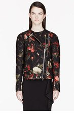GIVENCHY Red Boiled Wool Floral Print Biker Jacket for women