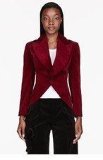 COMME DES GARÇONS Burgundy red Velvet Tailcoat for women